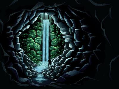 Hidden Falls design exploration waterfall cave illustration procreate msw