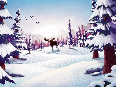 Moose Tracks landscape tracks moose procreate design snow illustration msw