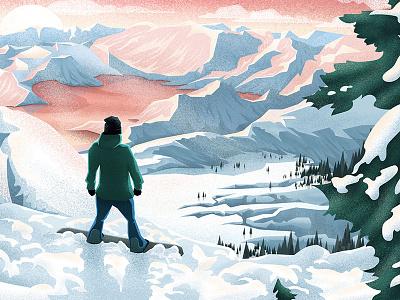 First Decent msw photoshop landscape view snow snowboard illustration vector illustrator