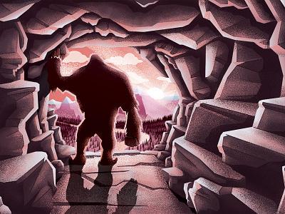 Bigfoot's Lookout msw vector creature beast fairy tale sunrise sunset lookout cave photoshop illustration yeti big foot