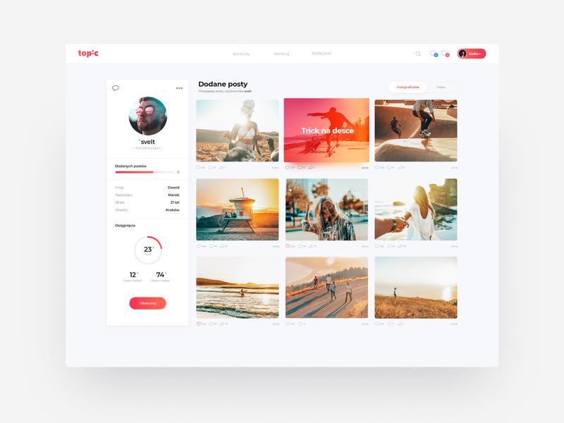 Topic User Profile sketch clean webdesign sketchapp montserrat typography branding design photoshop photos ux profile page user profile ui