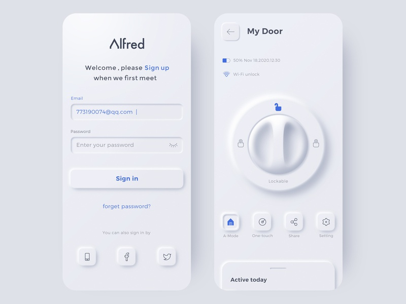 Afred smart lock neumorphic sign ui app phone app design 3d door care security smarthome light