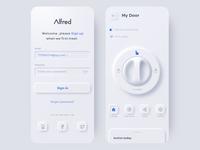 Afred smart lock neumorphic sign ui app phone app design 3d door care security smarthome light