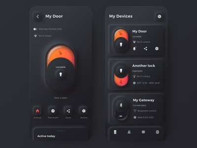 Alfred smart lock security care smarthome door lock unlock neumorphic 3d mobile ui