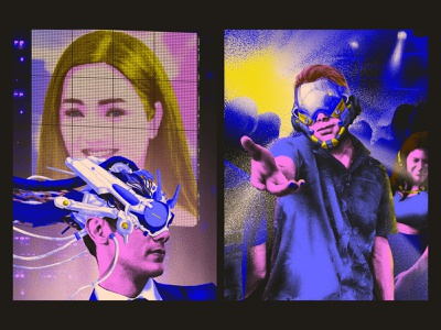 Because you are beautiful & Candy scream man disco technology cyberpunk illustration