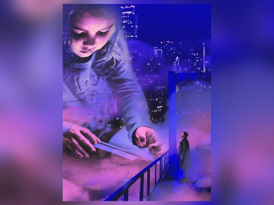 Storyteller story fairy tale book technology city cyberpunk child illustration