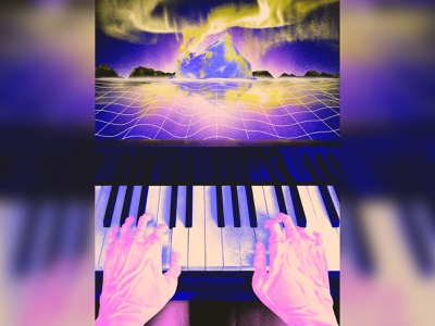 Intro album cyberpunk robot piano music illustration