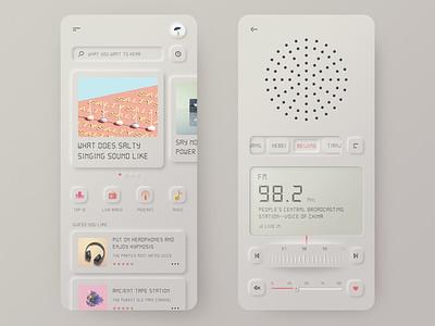 Vintage Radio music mobile branding player radio neumorphic 3d design app ui illustration