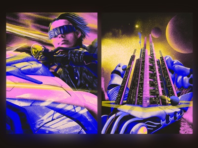 Keep your way & Cast for you speed robot city motorbike cyberpunk branding logo light design illustration