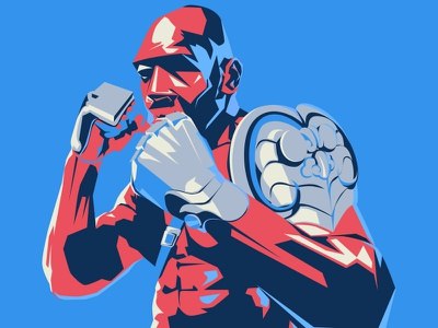 Boxer tyson red man illustration chinese boxer armor blue