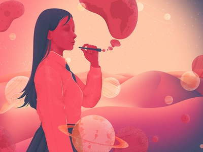 blowing bubbles desert uniform illustration alien star lonely girl woman mountain planet sky space