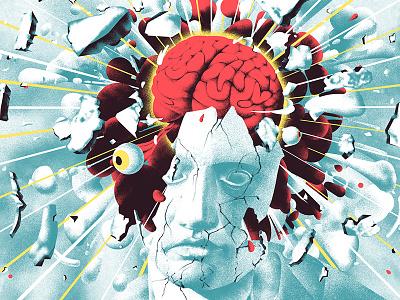 Emancipate the brain invitation illustration man brain plaster statue explosion eye white red blood