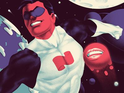 Rushing Into The Universe moon earth 100 hero star universe man rushing illustration