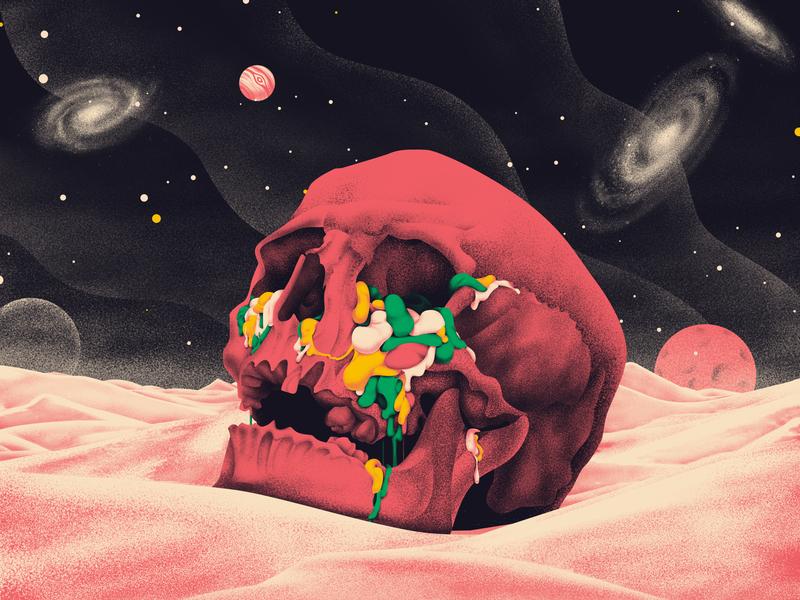 Hollow desert illustration design skeleton skull sky universe star
