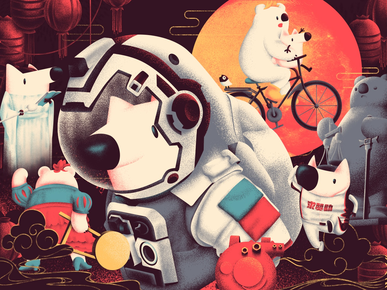 Chinese New Year Movie & Zhihu movie moon bear fox dog chinese spring festival design illustration