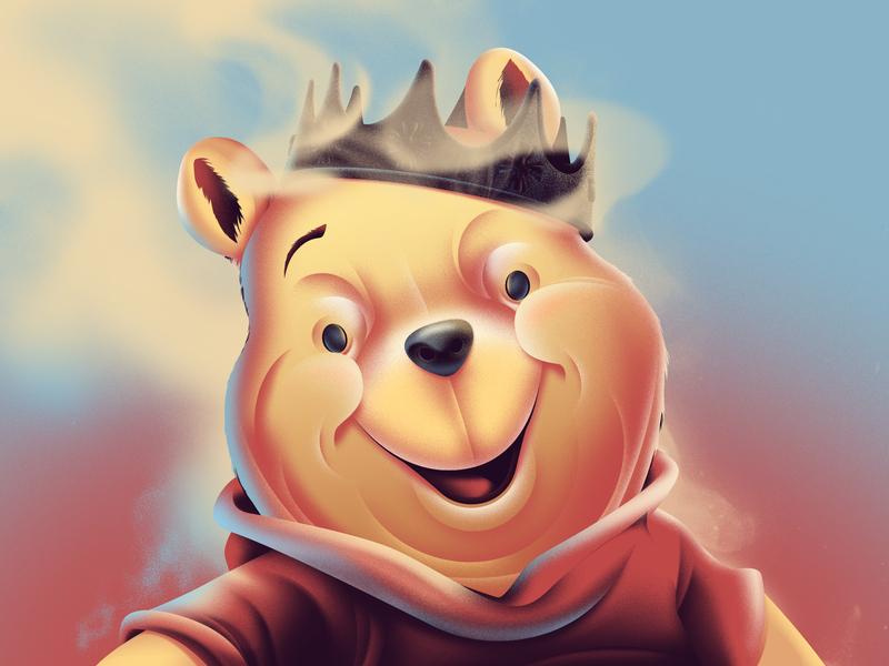 King Winnie is watching you crown bear emperor king winnie the pooh illustration