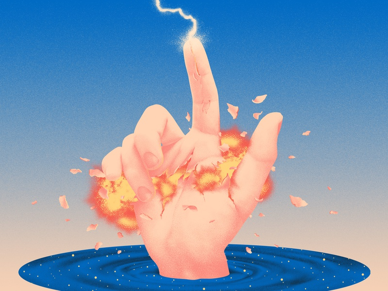 Anniversary finger hand lightning explosion thunder water year anniversary illustration