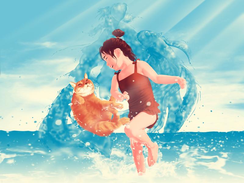 Summer,Girl and Cat light sun cat girl ocean sea beach summer illustration