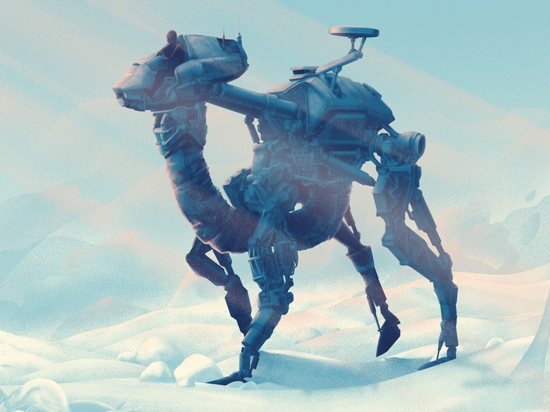 Snow Walker snow illustration characters robot desert rider light machine