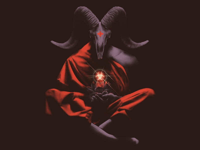 Disease flower bloom red cross wuhan lotus goat evil death virus illustration