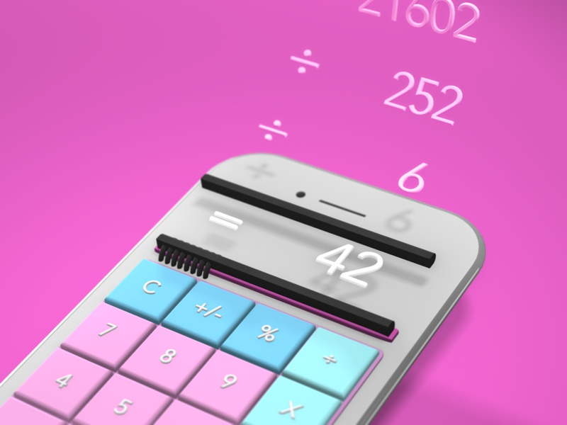 Mobile Calculator UI glare reflections shading transparency ui ux numbers neon minimal iphone glow fade daily ui components circuitry calculator buttons app after effects 3d 2.5d