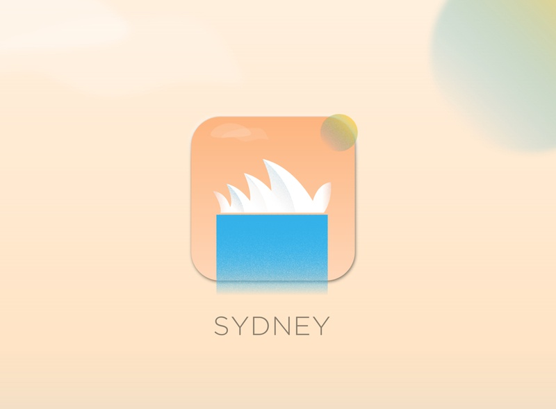 Travel Sydney - App Icon minimal cityscape brand identity illustrator xd tile sydney waterfall clouds shading grain sun travel australia sydney opera house iphone mobile icon app daily ui