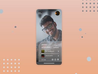 Artist Profile - Music Streaming App UI sound genre reviews stars spotlight challenge dailyui user profile social media circles blurred background iphone menu mobile app ui ux xd spotify music artist