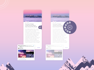 Social Share UI article blog post drop shadows icons buttons social share texture true grit texture supply social network sharing circles mountains post uiux dailyui blog design social app iphone socialmedia share