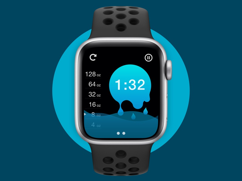 Drink More Water - Countdown Timer Watch UI time waves measure fitness health tracker wearable adobe xd illustrator water liquid timer countdown scale meter uiux dailyui app apple watch smartwatch