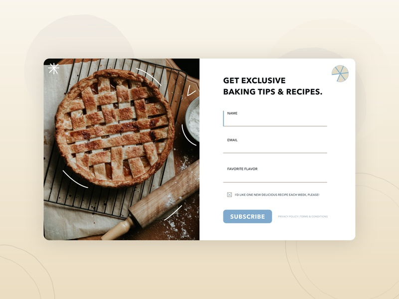 Lead Form UI - Bakery Nurture Campaign cooking food baking landing page leads ecommerce shop tips recipe marketing pie lead generation icon indicator uiux form signup email dailyui bakery