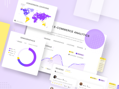 E-Commerce Analytics Dashboard UI - Essentials data analysis info minimal clean web app dashboad daily ui uiux sales money filters reviews demographics map location ecommerce graphs charts analytics
