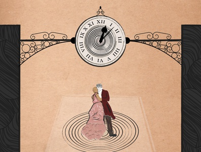Waiting To Arrive - Album Artwork historic character design dancing lines artist song romance romantic hypnosis time paper parchment vintage antique clock illustrator illustration music cover album art