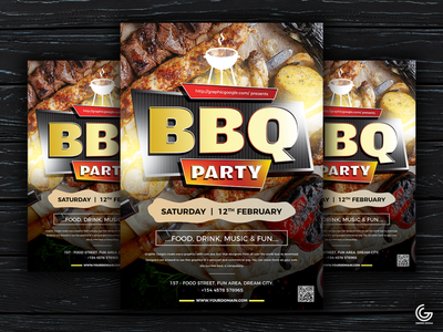 Free Modern BBQ Party Flyer Template print design graphics design psd download freebie templates flyer template flyer design bbq flyer design bbq flyer