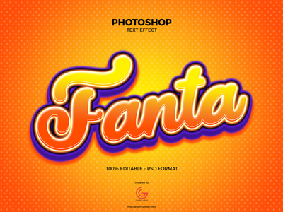 Free Photoshop Fanta Text Effect graphics design freebies download download psd text style text styles font design fonts font calligraphy photoshop action text effects text effect photoshop art photoshop
