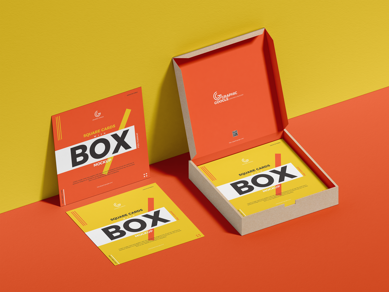 Free Square Cards With Box Mockup psd print template stationery mockups branding mockup identity freebie free card mockup mockup psd mockup free free mockup mock-up mockup packaging mockup packaging download branding