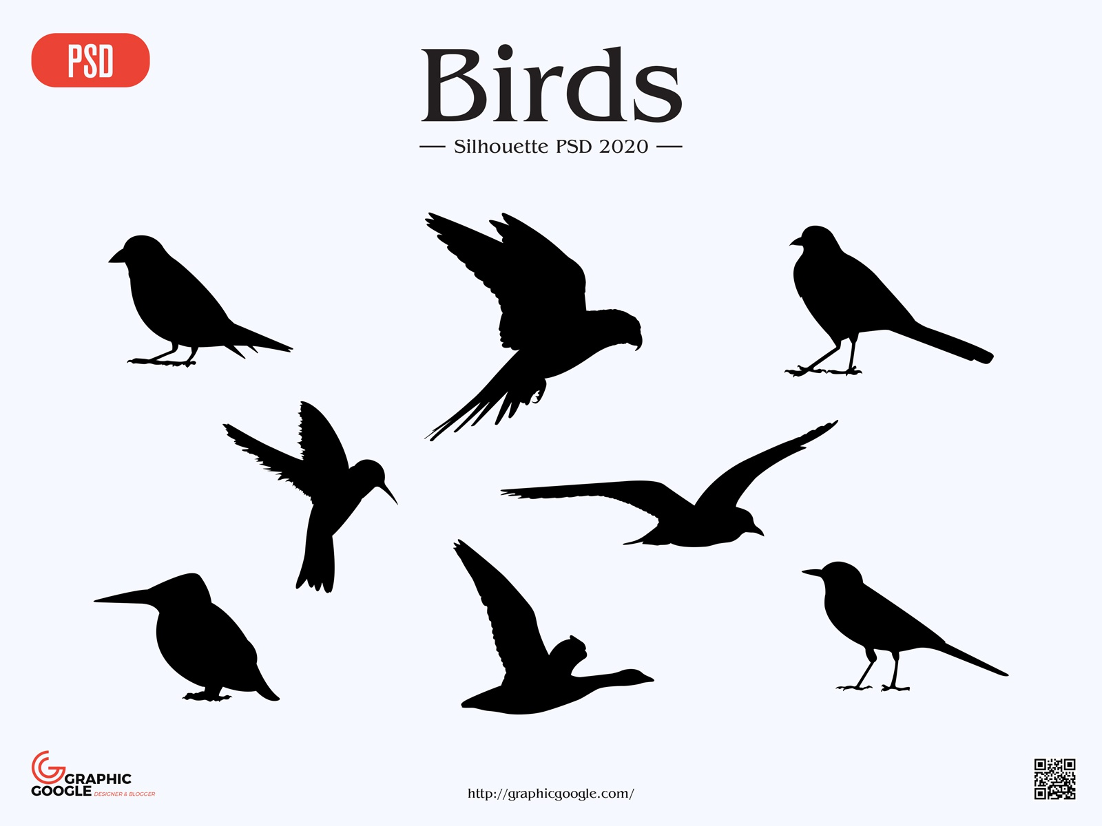 Free Birds Silhouette PSD by Graphic Google on Dribbble