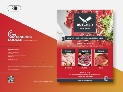 Free Butcher Shop Flyer Design psd flyer artwork design graphics templates download print design print freebies freebie free flyer template flyer design flyer
