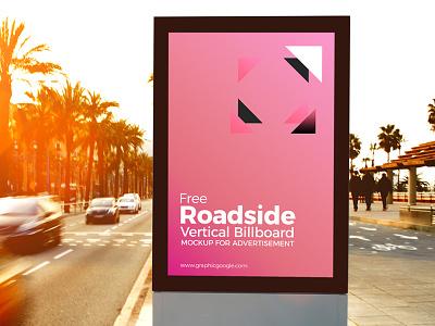 Free Roadside Vertical Billboard MockUp For Advertisement mock-up free mock-up billboard mock-up