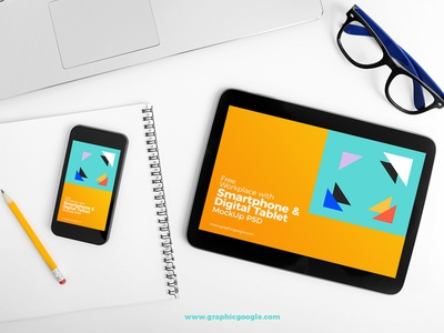 Free Workplace With Smartphone & Digital Tablet MockUp PSD