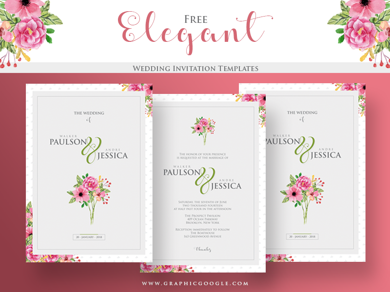Free Elegant Wedding Invitation Templates By Graphic Google On Dribbble