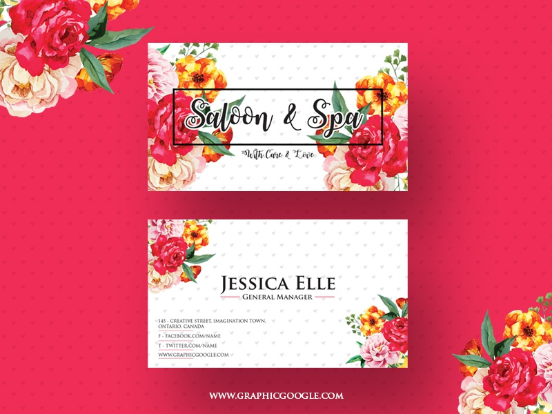Free saloon spa business card design template by graphic google free saloon spa business card design template reheart Image collections