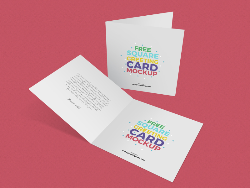 Download Free Square Greeting Cards Mockup