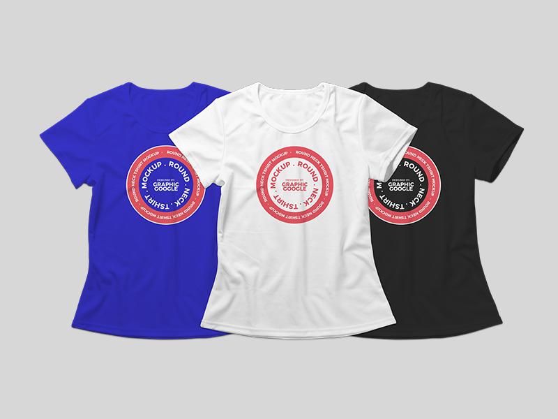 Free Round Neck T-shirt Mockup