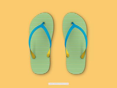 Free Beach Slippers Mockup
