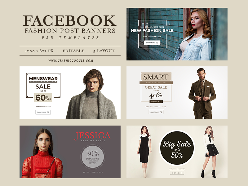 5 Free Facebook Fashion Post Banners PSD Templates