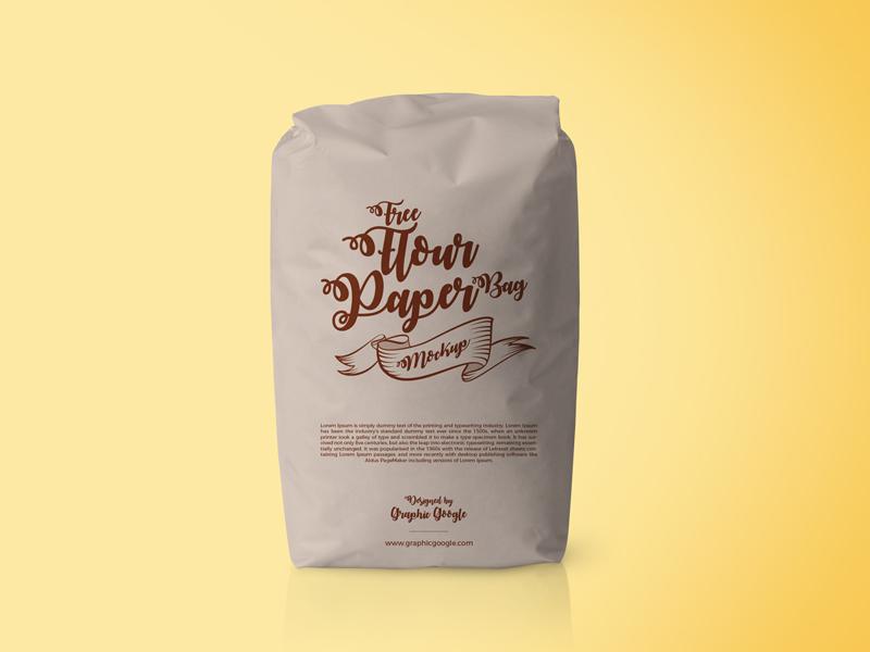 Free Flour Paper Bag Psd Mockup