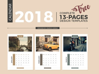 Free Complete 2018 Calendar Design Templates - 13 Pages by Graphic ...