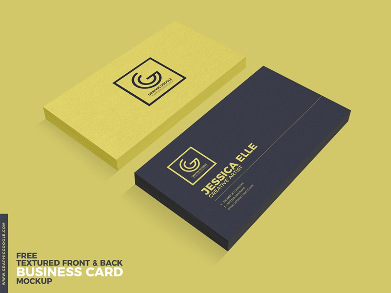 Free Textured Front & Back Business Card Psd Mockup by Graphic ...