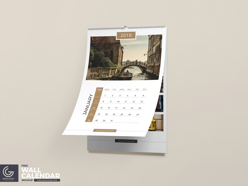 Hanging Calendar Design : Free wall calendar psd mockup by graphic google dribbble