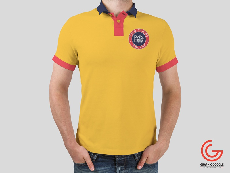 Free man wearing polo t shirt mockup by graphic google for Free polo shirt mockup